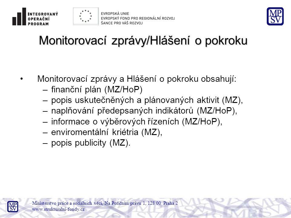 Ministerstvo práce a sociálních věcí, Na Poříčním právu 1, 128 00 Praha 2 www.strukturalni-fondy.cz Monitorovací zprávy/Hlášení o pokroku Monitorovací