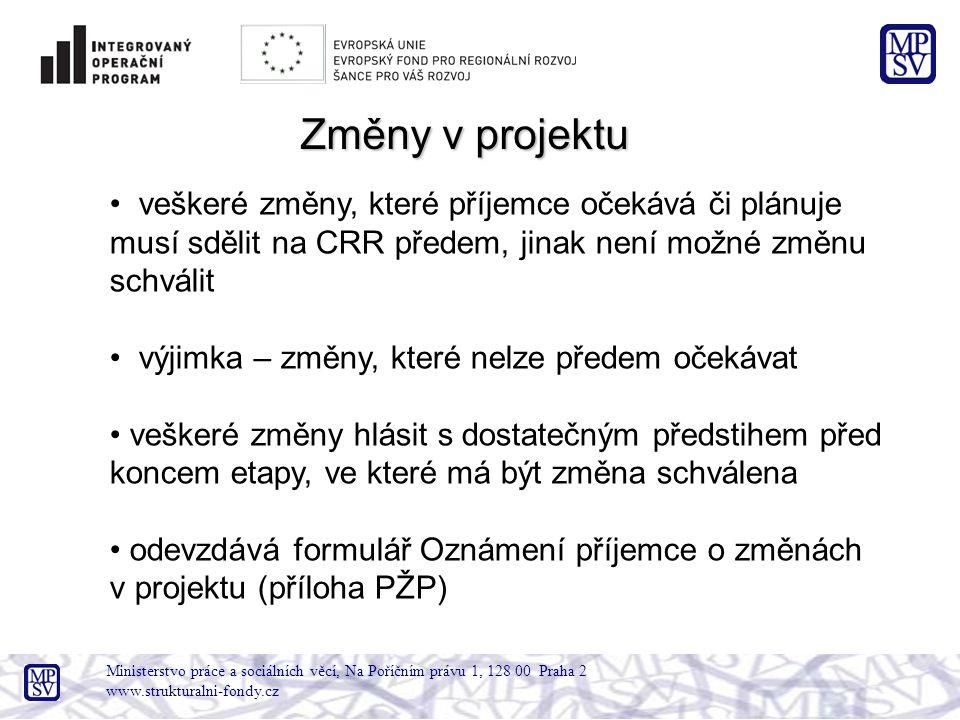 Ministerstvo práce a sociálních věcí, Na Poříčním právu 1, 128 00 Praha 2 www.strukturalni-fondy.cz Změny v projektu veškeré změny, které příjemce oče