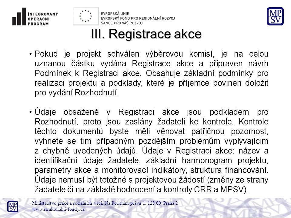 Ministerstvo práce a sociálních věcí, Na Poříčním právu 1, 128 00 Praha 2 www.strukturalni-fondy.cz III. Registrace akce Pokud je projekt schválen výb