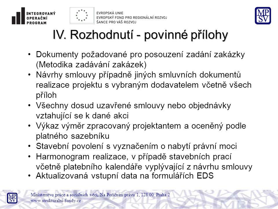 Ministerstvo práce a sociálních věcí, Na Poříčním právu 1, 128 00 Praha 2 www.strukturalni-fondy.cz IV. Rozhodnutí - povinné přílohy Dokumenty požadov