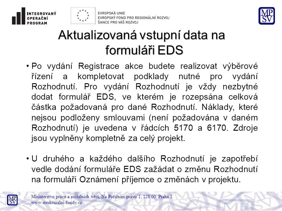 Ministerstvo práce a sociálních věcí, Na Poříčním právu 1, 128 00 Praha 2 www.strukturalni-fondy.cz Aktualizovaná vstupní data na formuláři EDS Po vyd