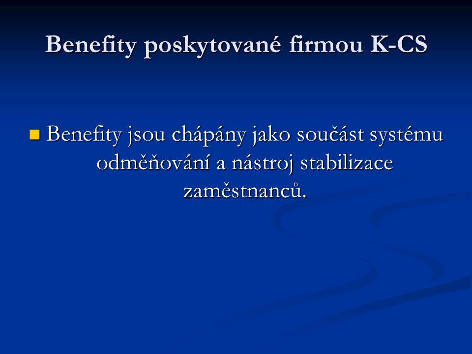 Benefity poskytované firmou K-CS Benefity jsou chápány jako součást systému odměňování a nástroj stabilizace zaměstnanců.