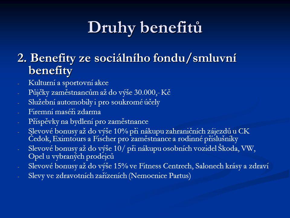 Druhy benefitů 2. Benefity ze sociálního fondu/smluvní benefity - - Kulturní a sportovní akce - - Půjčky zaměstnancům až do výše 30.000,- Kč - - Služe