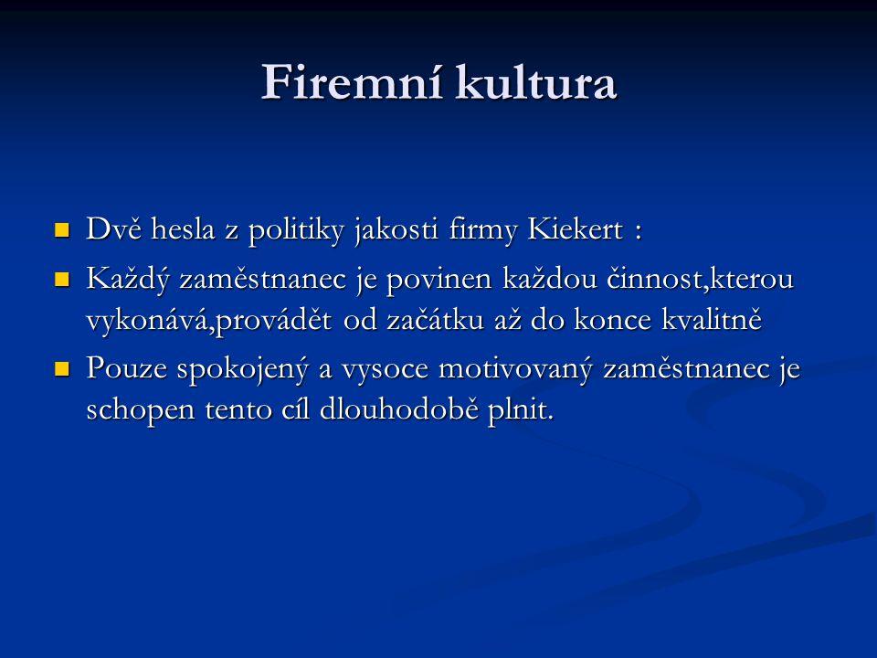 Firemní kultura Dvě hesla z politiky jakosti firmy Kiekert : Dvě hesla z politiky jakosti firmy Kiekert : Každý zaměstnanec je povinen každou činnost,