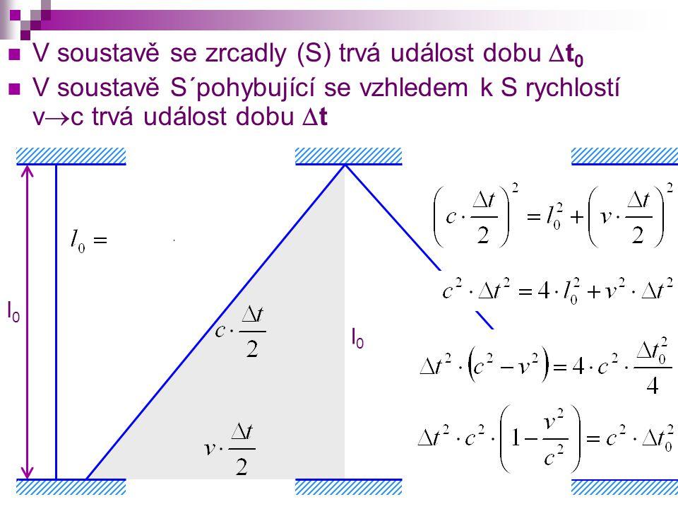 l0l0 V soustavě se zrcadly (S) trvá událost dobu  t 0 V soustavě S´pohybující se vzhledem k S rychlostí v  c trvá událost dobu  t l0l0