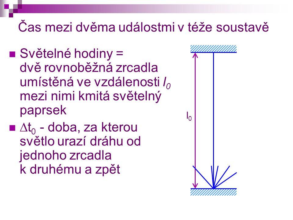 Čas mezi dvěma událostmi v téže soustavě Světelné hodiny = dvě rovnoběžná zrcadla umístěná ve vzdálenosti l 0 mezi nimi kmitá světelný paprsek  t 0 - doba, za kterou světlo urazí dráhu od jednoho zrcadla k druhému a zpět l0l0