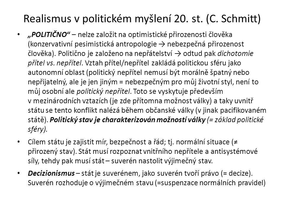 Realismus v politickém myšlení 20. st. (C.