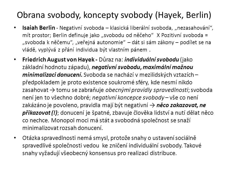 """Obrana svobody, koncepty svobody (Hayek, Berlin) Isaiah Berlin - Negativní svoboda – klasická liberální svoboda, """"nezasahování , mít prostor; Berlin definuje jako """"svobodu od něčeho X Pozitivní svoboda = """"svoboda k něčemu , """"veřejná autonomie – dát si sám zákony – podílet se na vládě, vyplývá z přání individua být vlastním pánem."""