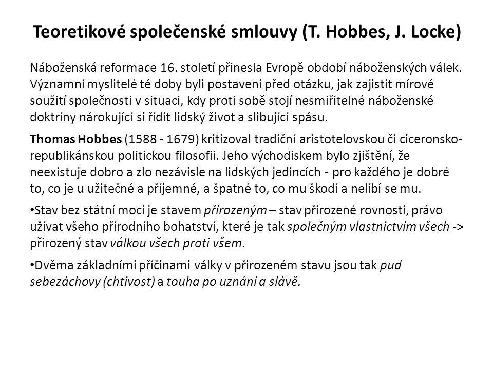 Teoretikové společenské smlouvy (T. Hobbes, J. Locke) Náboženská reformace 16.