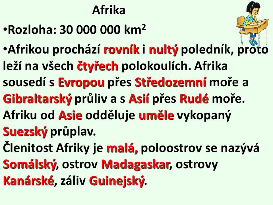 Afrika Rozloha: 30 000 000 km 2 rovníknultý čtyřech EvropouStředozemní Gibraltarský AsiíRudé Asie uměle Suezský malá, SomálskýMadagaskar KanárskéGuinejský Afrikou prochází rovník i nultý poledník, proto leží na všech čtyřech polokoulích.