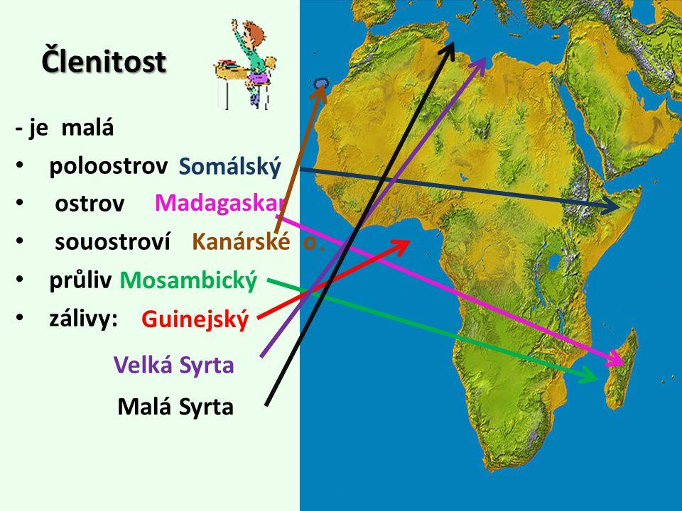 Členitost - je malá poloostrov ostrov souostroví průliv zálivy: Madagaskar Somálský Mosambický Velká Syrta Malá Syrta Guinejský Kanárské o.