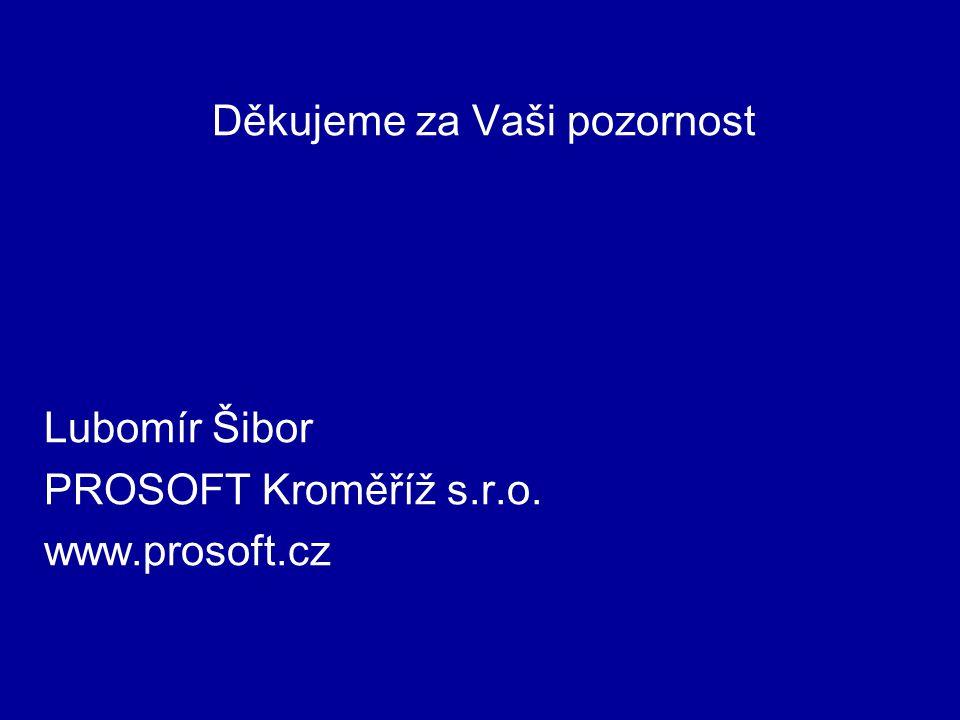 Děkujeme za Vaši pozornost Lubomír Šibor PROSOFT Kroměříž s.r.o. www.prosoft.cz