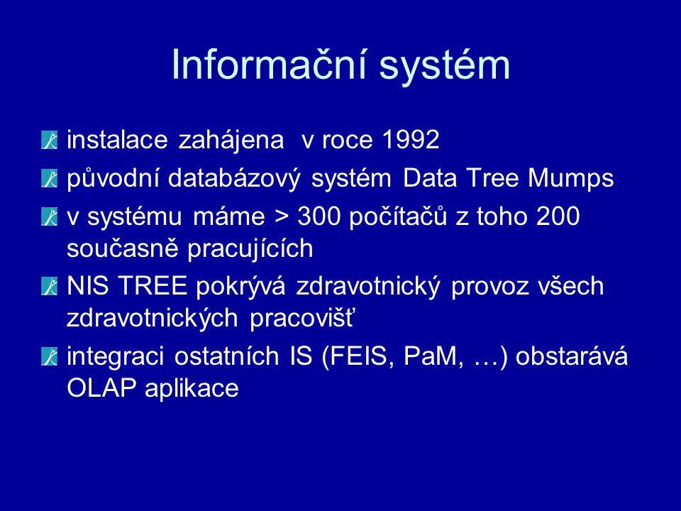 Informační systém instalace zahájena v roce 1992 původní databázový systém Data Tree Mumps v systému máme > 300 počítačů z toho 200 současně pracující