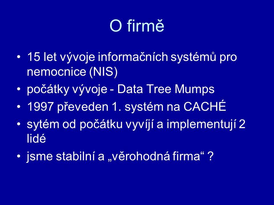 O firmě 15 let vývoje informačních systémů pro nemocnice (NIS) počátky vývoje - Data Tree Mumps 1997 převeden 1. systém na CACHÉ sytém od počátku vyví
