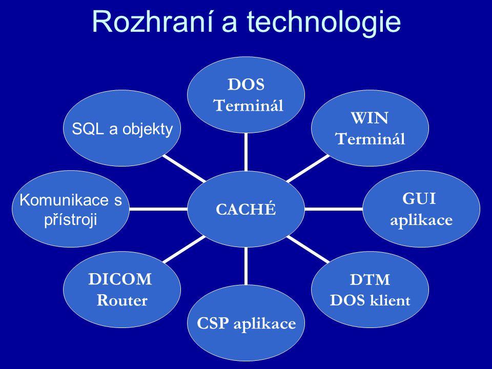Rozhraní a technologie CACHÉ DOS Terminál WIN Terminál GUI aplikace DTM DOS klient CSP aplikace DICOM Router Komunikace s přístroji SQL a objekty
