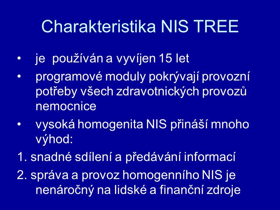 Charakteristika NIS TREE je používán a vyvíjen 15 let programové moduly pokrývají provozní potřeby všech zdravotnických provozů nemocnice vysoká homog