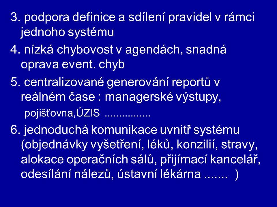 3. podpora definice a sdílení pravidel v rámci jednoho systému 4. nízká chybovost v agendách, snadná oprava event. chyb 5. centralizované generování r