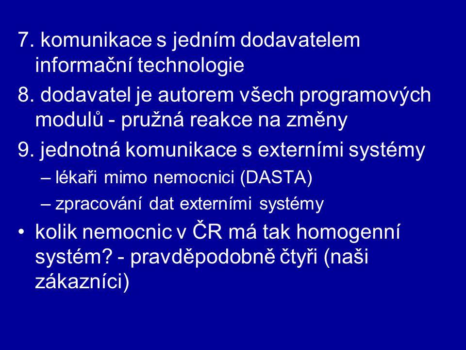 Požadavky na integraci s jinými systémy integrace - heslo moderní doby vzhledem k vysoké homogenitě a rozsahu NIS jsou potřeby našich zákazníků v této oblasti nulové - požadavky na integraci neřešíme připojení externích diagnostických systémů (CT, RTG...) přes DICOM router možná budoucnost přinese nějaké potřeby