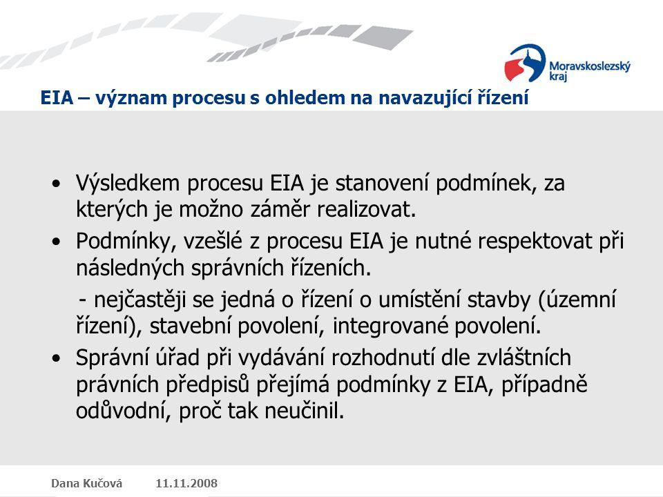 EIA – význam procesu s ohledem na navazující řízení Dana Kučová 11.11.2008 Výsledkem procesu EIA je stanovení podmínek, za kterých je možno záměr realizovat.