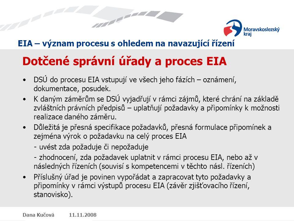 EIA – význam procesu s ohledem na navazující řízení Dana Kučová 11.11.2008 Dotčené správní úřady a proces EIA DSÚ do procesu EIA vstupují ve všech jeho fázích – oznámení, dokumentace, posudek.