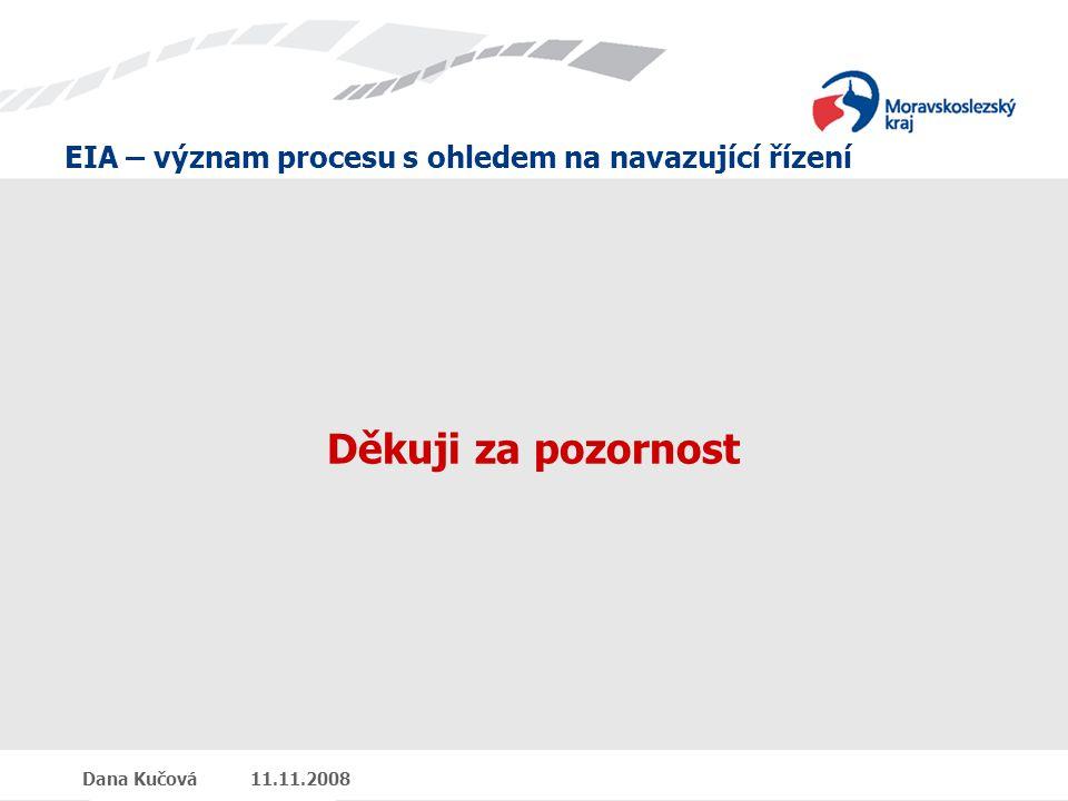 EIA – význam procesu s ohledem na navazující řízení Dana Kučová 11.11.2008 Děkuji za pozornost