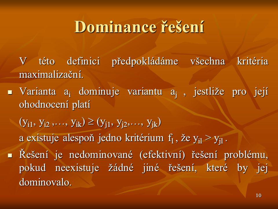 10 Dominance řešení V této definici předpokládáme všechna kritéria maximalizační. Varianta a i dominuje variantu a j, jestliže pro její ohodnocení pla