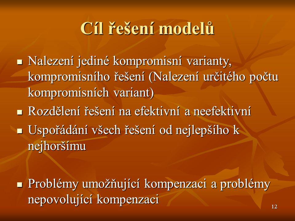 12 Cíl řešení modelů Nalezení jediné kompromisní varianty, kompromisního řešení (Nalezení určitého počtu kompromisních variant) Nalezení jediné kompro