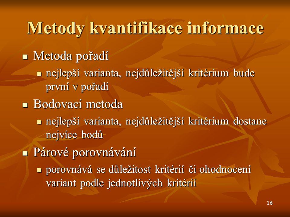 16 Metody kvantifikace informace Metoda pořadí Metoda pořadí nejlepší varianta, nejdůležitější kritérium bude první v pořadí nejlepší varianta, nejdůl
