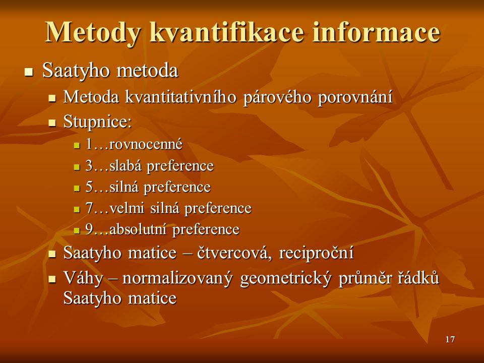 17 Metody kvantifikace informace Saatyho metoda Saatyho metoda Metoda kvantitativního párového porovnání Metoda kvantitativního párového porovnání Stu