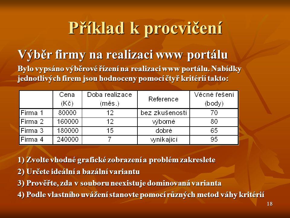 18 Příklad k procvičení Výběr firmy na realizaci www portálu Bylo vypsáno výběrové řízení na realizaci www portálu. Nabídky jednotlivých firem jsou ho
