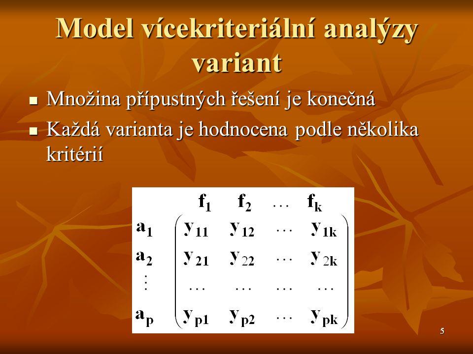 5 Model vícekriteriální analýzy variant Množina přípustných řešení je konečná Množina přípustných řešení je konečná Každá varianta je hodnocena podle