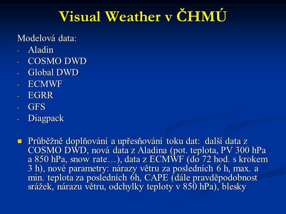 Visual Weather v ČHMÚ Modelová data: - Aladin - COSMO DWD - Global DWD - ECMWF - EGRR - GFS - Diagpack Průběžně doplňování a upřesňování toku dat: dal