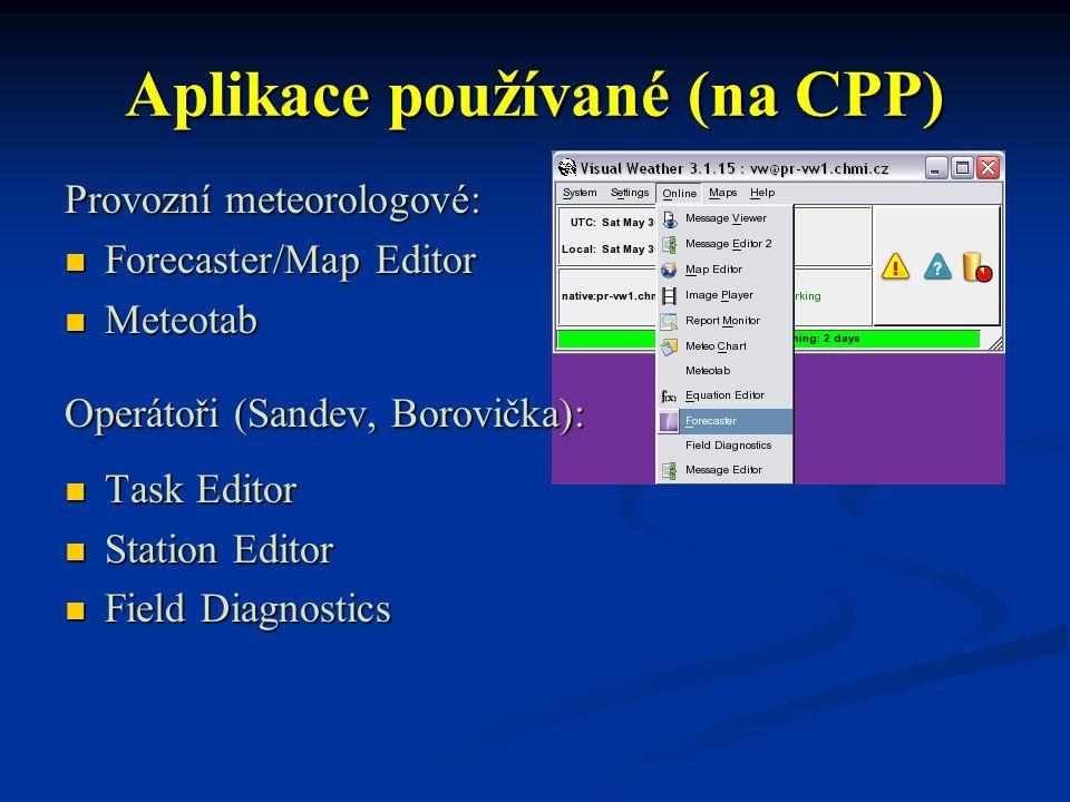 Aplikace používané (na CPP) Provozní meteorologové: Forecaster/Map Editor Forecaster/Map Editor Meteotab Meteotab Operátoři (Sandev, Borovička): Task