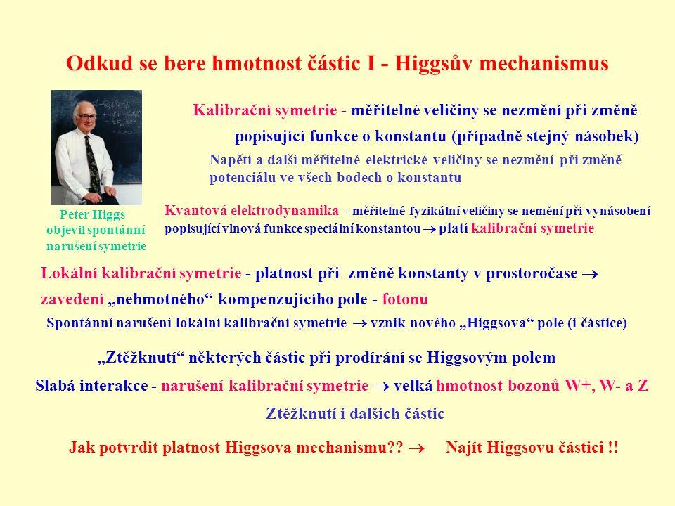 Odkud se bere hmotnost částic I - Higgsův mechanismus Peter Higgs objevil spontánní narušení symetrie Kalibrační symetrie - měřitelné veličiny se nezm
