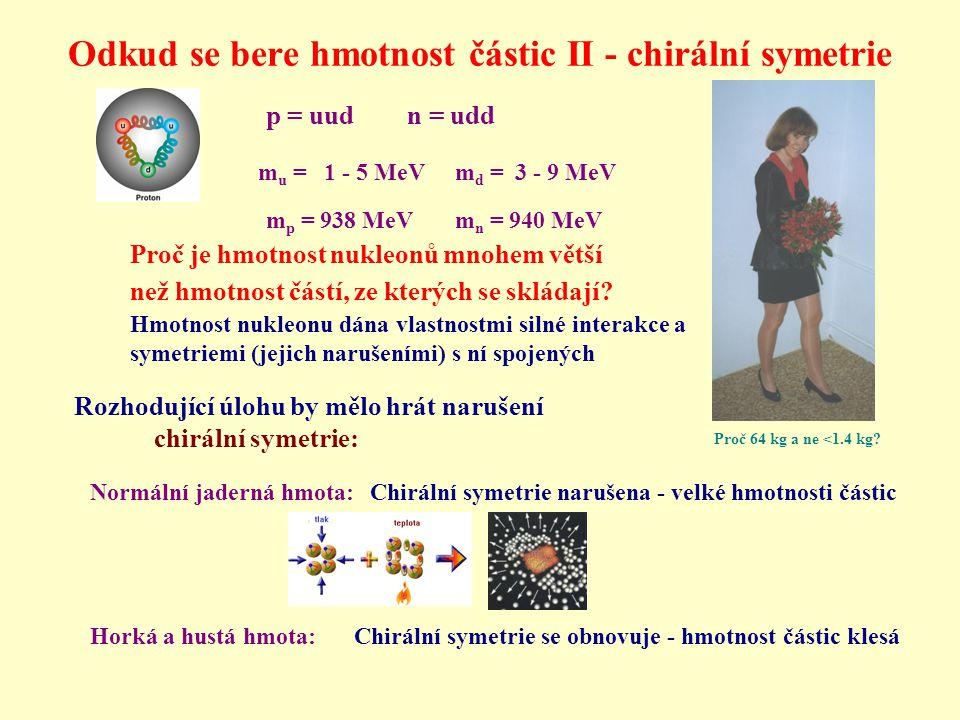 Odkud se bere hmotnost částic II - chirální symetrie Proč 64 kg a ne <1.4 kg? p = uud n = udd m u = 1 - 5 MeV m d = 3 - 9 MeV m p = 938 MeV m n = 940