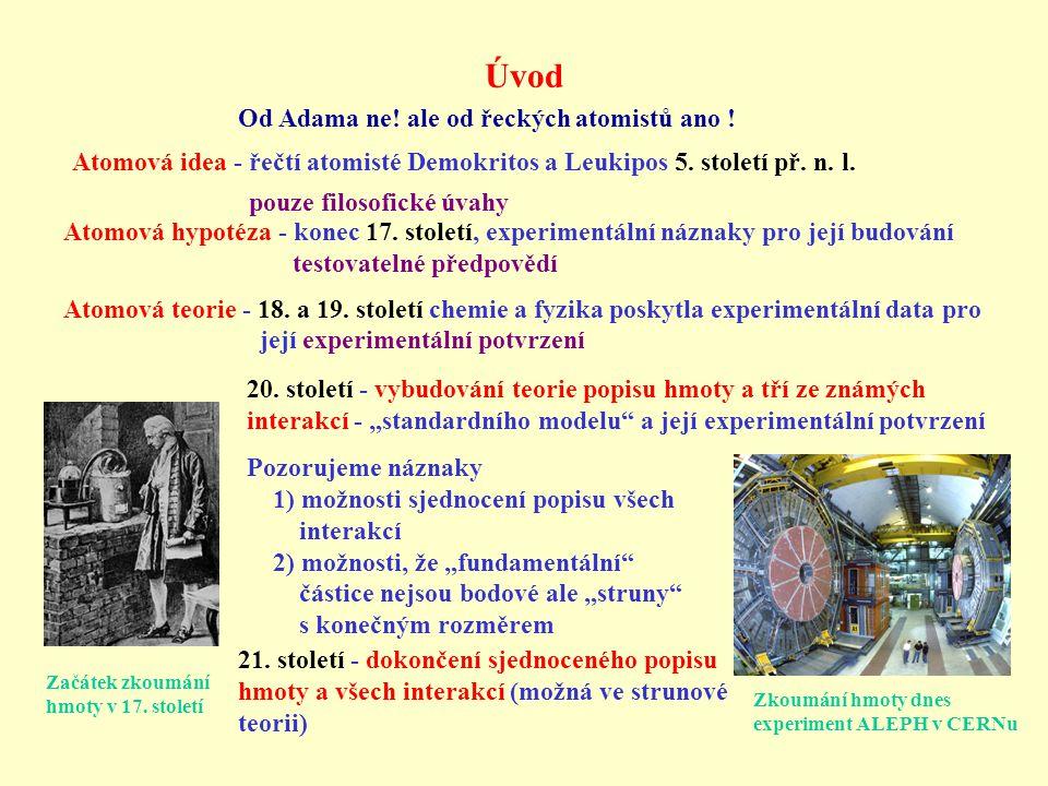Úvod Atomová idea - řečtí atomisté Demokritos a Leukipos 5. století př. n. l. pouze filosofické úvahy Od Adama ne! ale od řeckých atomistů ano ! Atomo