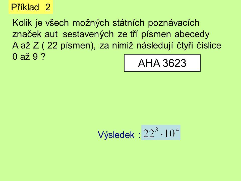 Příklad 2 Kolik je všech možných státních poznávacích značek aut sestavených ze tří písmen abecedy A až Z ( 22 písmen), za nimiž následují čtyři čísli