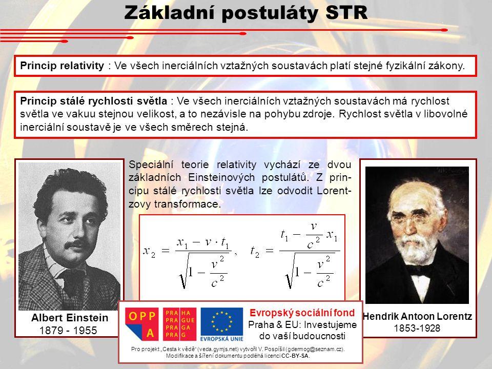 Základní postuláty STR Hendrik Antoon Lorentz 1853-1928 Albert Einstein 1879 - 1955 Speciální teorie relativity vychází ze dvou základních Einsteinový
