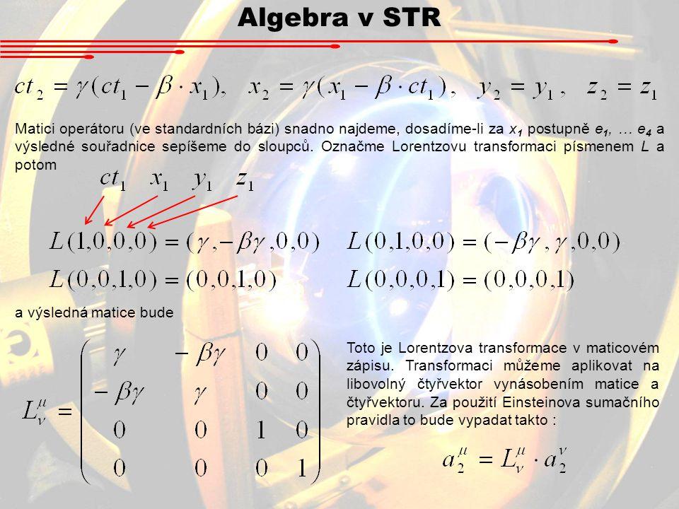 Minkowského časoprostor Na základě předchozích úvah si teď můžeme zavést vektorový prostor pro STR: Prostor R 4 kovariantních vektorů Prostor R 4 kontravariantních vektorů Minkowského časoprostor (prostoročas) Metrický tenzor převádějící kovariantní čtyřvektory na kontravariantní a naopak : Lorentzova transformace - ortogonální operátor (det L = 1) na obou součástech Minkowského časoprostoru.