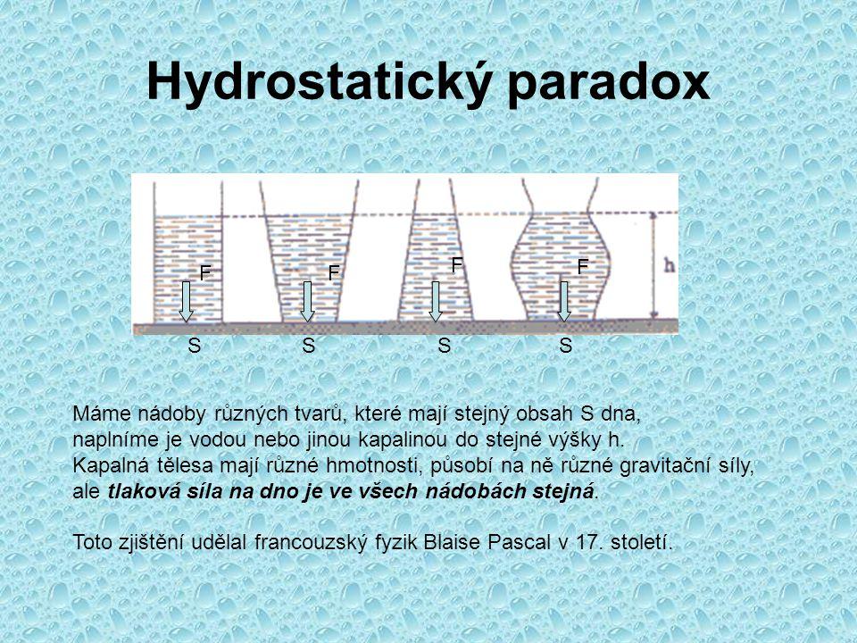Hydrostatický paradox SSSS FF F F Máme nádoby různých tvarů, které mají stejný obsah S dna, naplníme je vodou nebo jinou kapalinou do stejné výšky h.