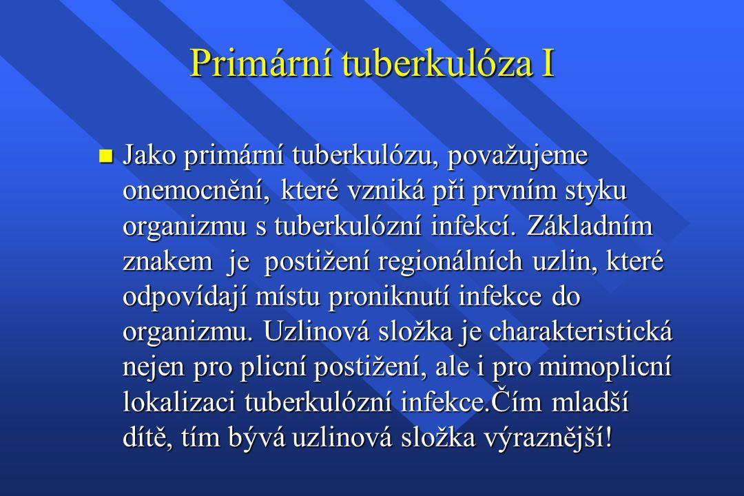 Primární tuberkulóza I n Jako primární tuberkulózu, považujeme onemocnění, které vzniká při prvním styku organizmu s tuberkulózní infekcí. Základním z