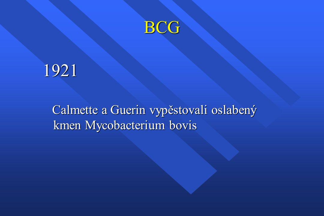 BCG 1921 Calmette a Guerin vypěstovali oslabený kmen Mycobacterium bovis Calmette a Guerin vypěstovali oslabený kmen Mycobacterium bovis