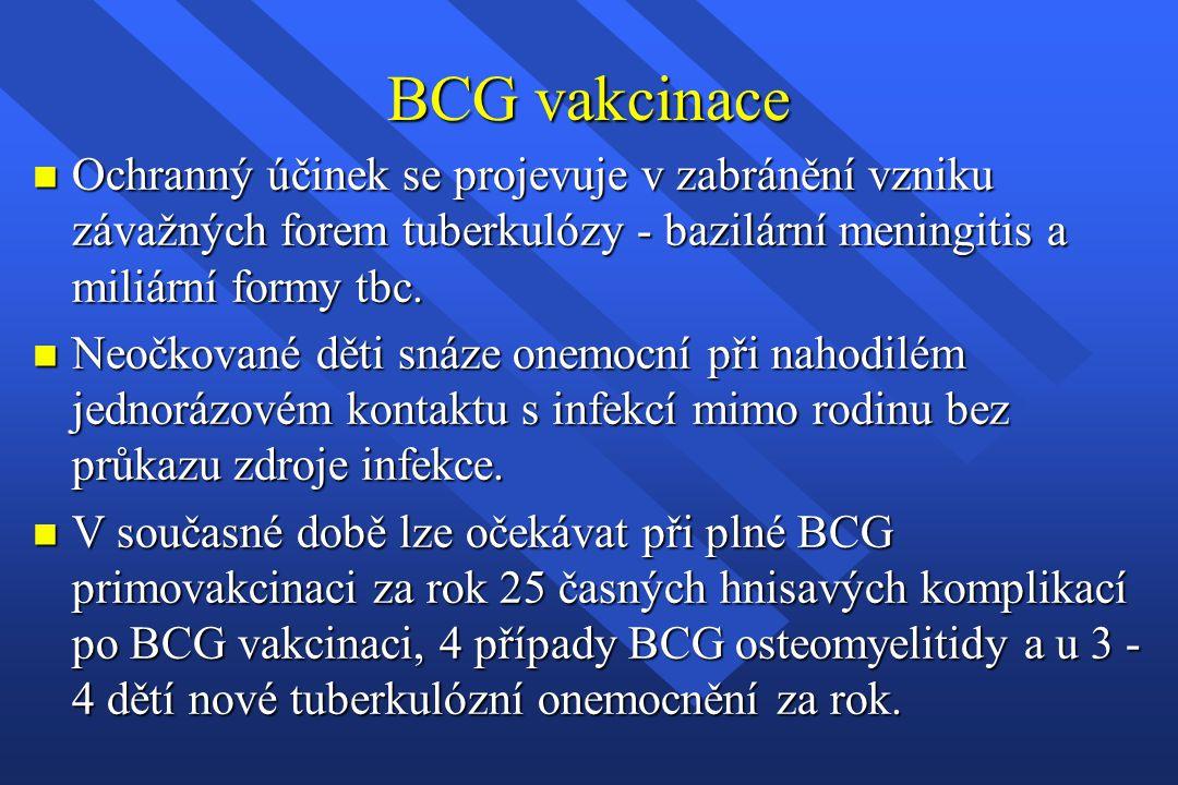 BCG vakcinace n Ochranný účinek se projevuje v zabránění vzniku závažných forem tuberkulózy - bazilární meningitis a miliární formy tbc. n Neočkované