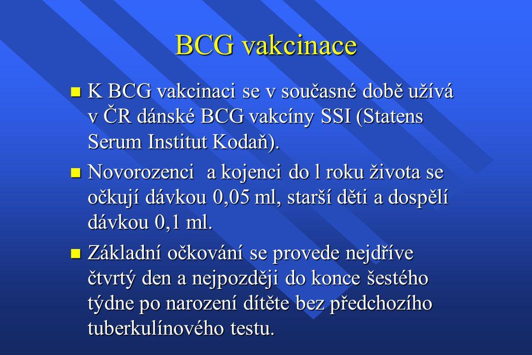 BCG vakcinace n K BCG vakcinaci se v současné době užívá v ČR dánské BCG vakcíny SSI (Statens Serum Institut Kodaň). n Novorozenci a kojenci do l roku