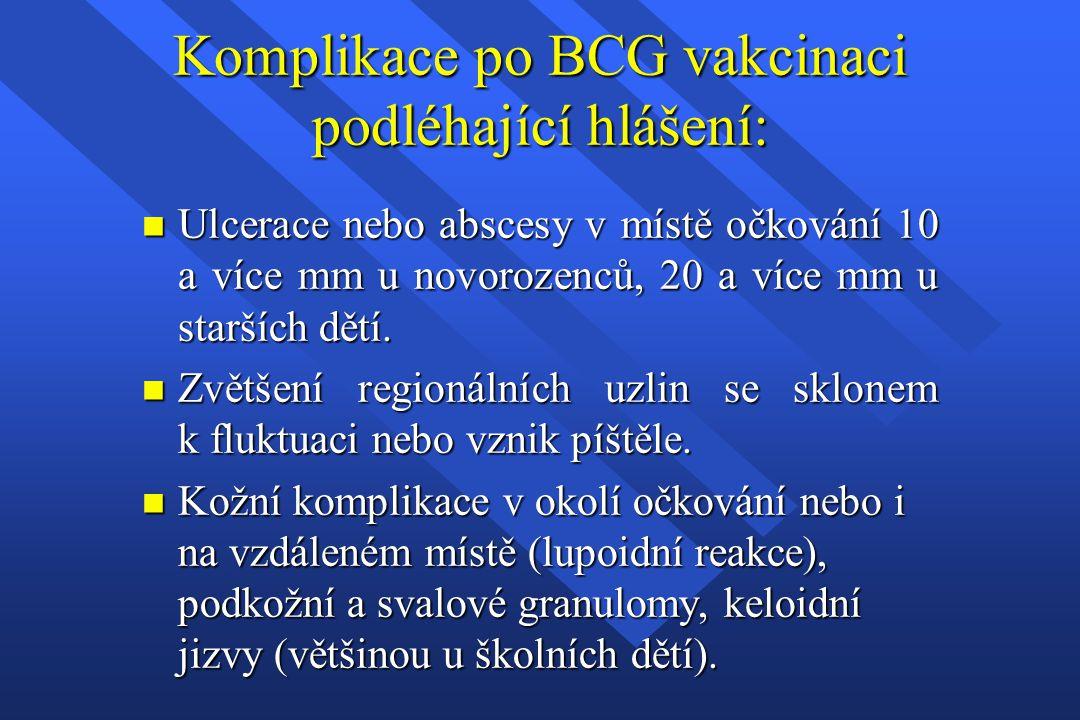 Komplikace po BCG vakcinaci podléhající hlášení: n Ulcerace nebo abscesy v místě očkování 10 a více mm u novorozenců, 20 a více mm u starších dětí. n