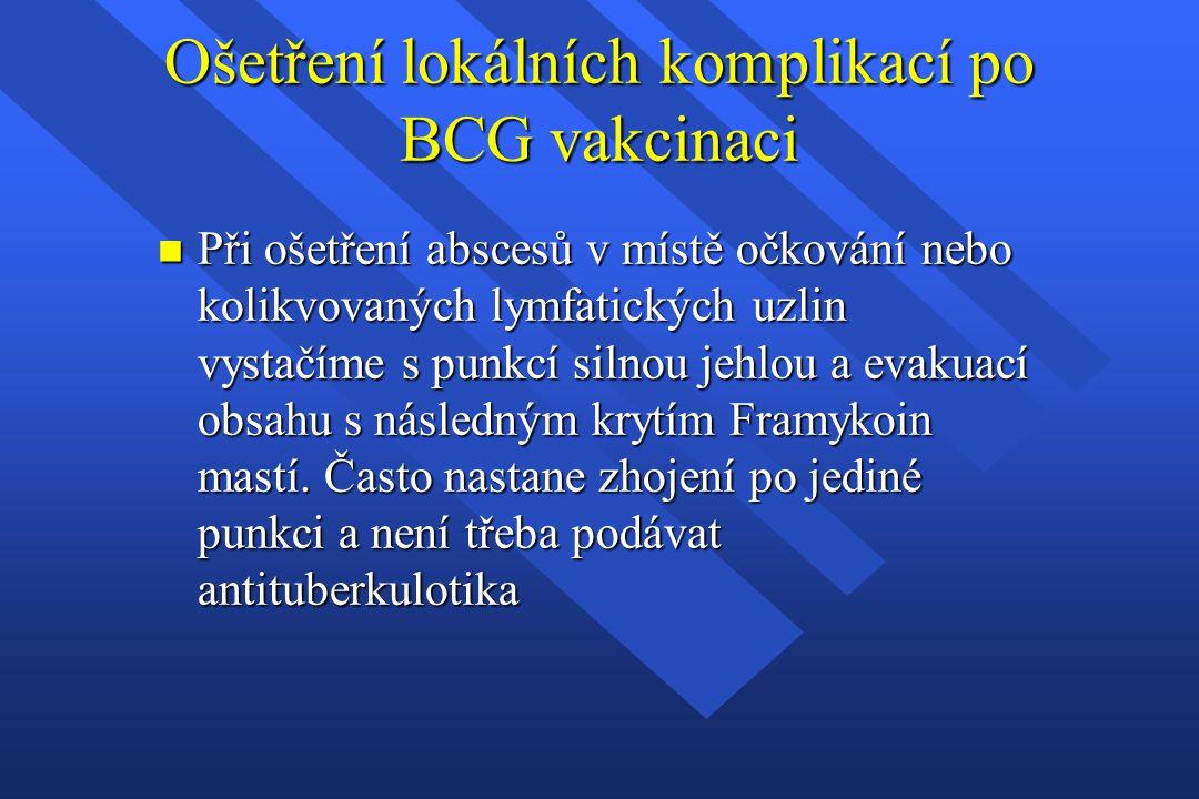Ošetření lokálních komplikací po BCG vakcinaci n Při ošetření abscesů v místě očkování nebo kolikvovaných lymfatických uzlin vystačíme s punkcí silnou