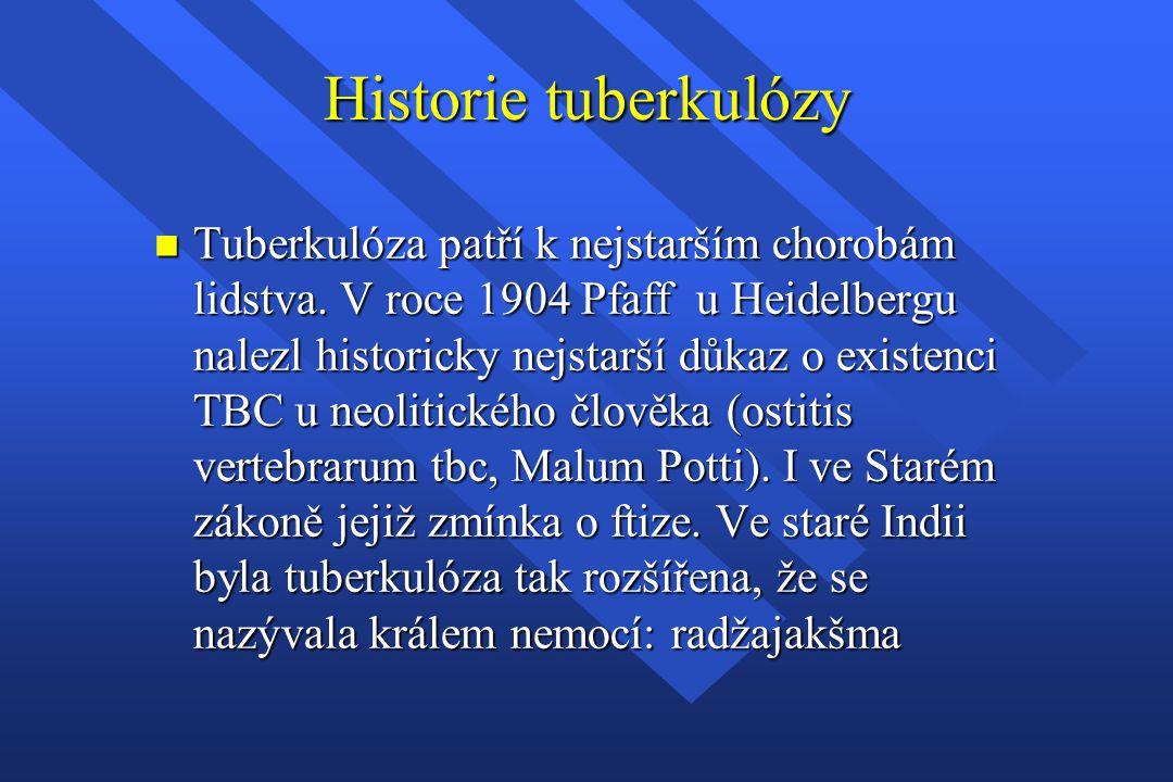 Historie tuberkulózy n Tuberkulóza patří k nejstarším chorobám lidstva. V roce 1904 Pfaff u Heidelbergu nalezl historicky nejstarší důkaz o existenci