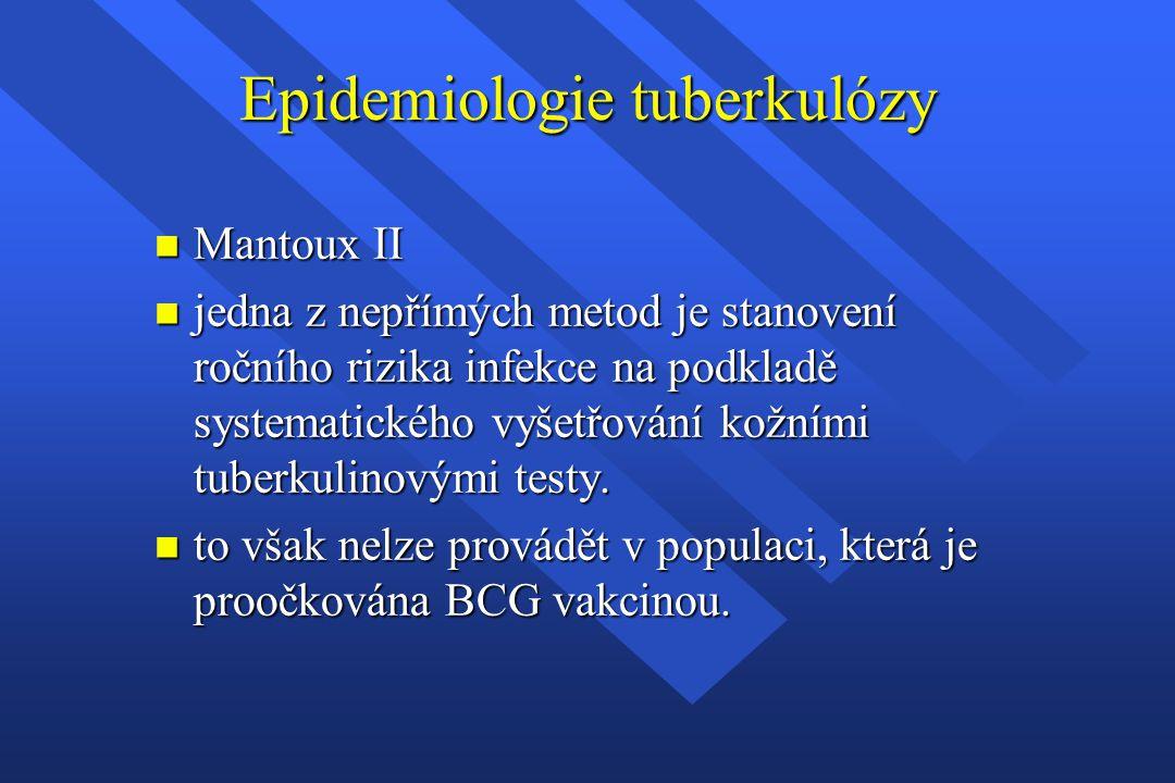 Epidemiologie tuberkulózy n Mantoux II n jedna z nepřímých metod je stanovení ročního rizika infekce na podkladě systematického vyšetřování kožními tu
