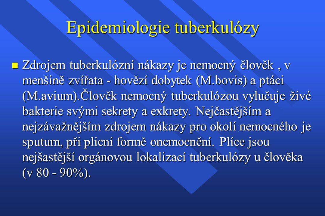 Epidemiologie tuberkulózy n Zdrojem tuberkulózní nákazy je nemocný člověk, v menšině zvířata - hovězí dobytek (M.bovis) a ptáci (M.avium).Člověk nemoc
