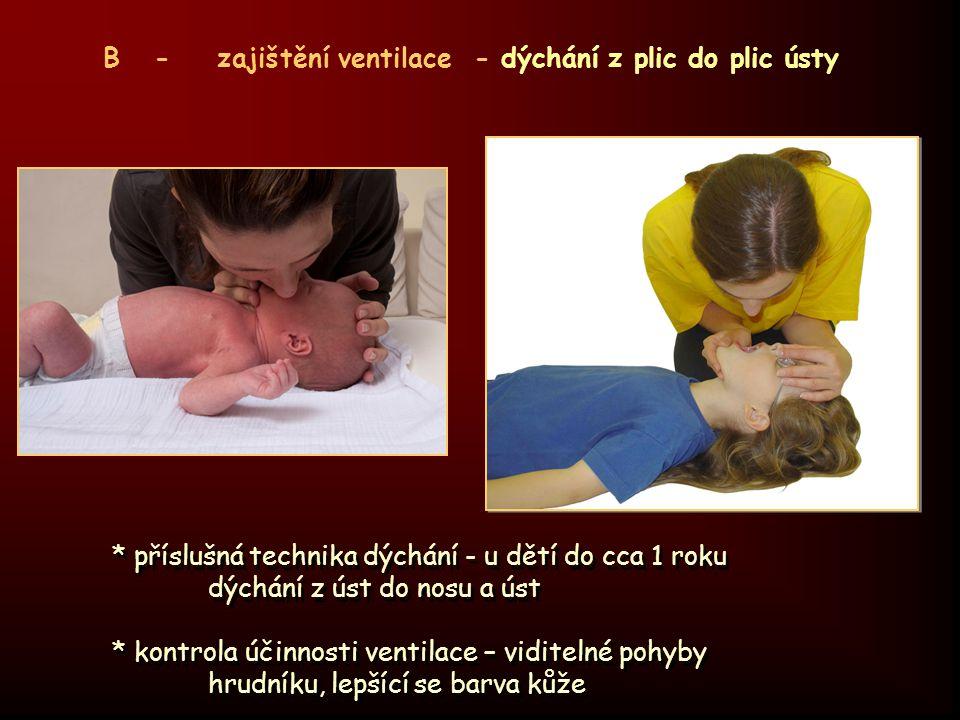 B - zajištění ventilace umělé dýchání - doporučené frekvence * novorozenec 40 – 60 vdechů / min * kojenec 30 vdechů / min * batole 20 vdechů / min * starší děti 15 – 20 vdechů / min * dospělý 8 – 10 vdechů / min B - zajištění ventilace umělé dýchání - doporučené frekvence * novorozenec 40 – 60 vdechů / min * kojenec 30 vdechů / min * batole 20 vdechů / min * starší děti 15 – 20 vdechů / min * dospělý 8 – 10 vdechů / min